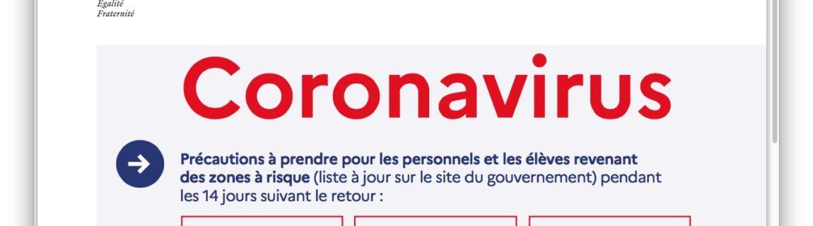 Coronavirus messages de prévention pour les écoles et les établissements scolaires